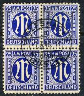 1945 Germany Used Block Of 4 Of The 25 Pfennig M Issue - American/British Zone