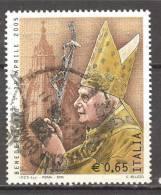 ITALIA ITALY STAMPS 2005 PAPA BENEDETTO XVI SASSONE 2860  USATI DI QUALITA ´ BOLLI NITIDI - 6. 1946-.. Repubblica