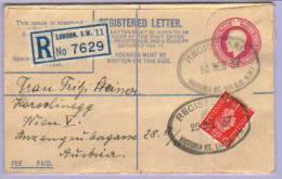 Registered Letter London GB To Vienna 1937 (304) - 1902-1951 (Könige)
