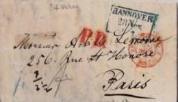 Précurseur Nov/1858-griffeHannover 28nov.dans Rectangle Bleu+P.D. Rouge  Et Cachet Double Cercle Brun à L´avant - Hannover
