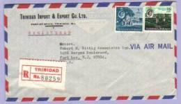 Airmail Registered Letter Trinidad Tobago To USA 1968 (308) - Trinidad & Tobago (1962-...)