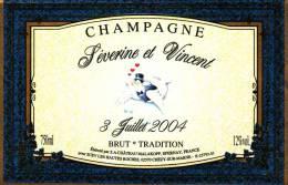 """Etiquette  Champagne    Elaboré Par Château-Malakoff - Mariage """"Séverine & Vincent"""" - Coppie"""
