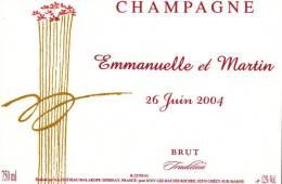 """Etiquette  Champagne    Elaboré Par Château-Malakoff - Mariage """"Emmanuelle & Martin"""" - Coppie"""