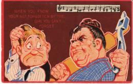 Powerful Woman Threatens Man, Marriage Humor, Music, Unsigned Artist Image, C1900s/10s Vintage Postcard - Illustratori & Fotografie