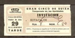 Espagne Billet Cirque De Suisse 1961 Spain Switzerland Circus 1961 Ticket España - Tickets - Vouchers