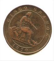 GOBIERNO PROVISIONAL  5 CÉNTIMOS DE PESETA  1870    NL057 - [ 1] …-1931 : Reino