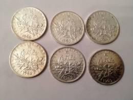 Six Pièces De 5 Francs Argent - France
