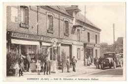 76 SOMMERY CAFE ET BOULANGERIE - POMPE A ESSENCE SHELL - BETAMBOS BALLUET 1936 - EPICERIE - France