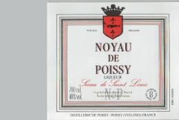 Etiquette  -  NOYAU  De  POISSY  Liqueur  -  Sceau  De  St  LOUIS  -  Distillerie  De  POISSY  -  POISSY  ( Yveline ) - Etiquettes