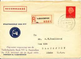 Netherlands Registered Cover Sent To USA S-Gravenhage 15-11-1951 - Period 1949-1980 (Juliana)