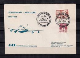1946-1971, VUELO ESCANDINAVIA - NUEVA YORK, SOBRE CONMEMORATIVO, AVIONES, TRANSPORTE AÉREO - Aviones