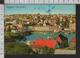 R5519 FAROE ISLANDS VIEW OVER TORSHAVN Cartolina QSL FAROER - Isole Faroer