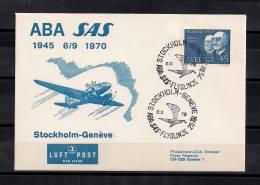 1945-1970, VUELO ESTOCOLMO - GINEBRA, SOBRE CONMEMORATIVO CIRCULADO, AVIONES, TRANSPORTE AÉREO - Aviones