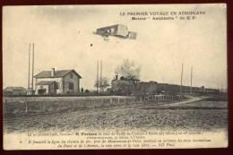 Cpa Premier Voyage Aéroplane Moteur Antoinette Farman Camp Châlons à Reims Ligne Chemin Fer Mourmelon Le Petit  DIV19 - Aviateurs