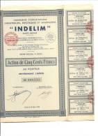 ACTION INDELIM SIEGE SOCIAL A PARIS ANNEE 1932 - Electricité & Gaz