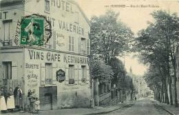 Suresnes : Rue Du Mont Valérien Animée. Maison Vaillant, Café Restaurant. 2 Scans. Edition Marmuse - Suresnes