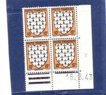 N° 573 - 10F Blason De BRETAGNE -D De C+D - Tirage Du 13.3.43 Au 25.3.43 - 16.03.1943 - - Angoli Datati