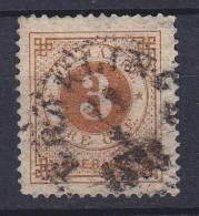 ## Sweden 1887 Mi. 30     3 Ö Ziffern Im Kreis Rückseitig Aufdruck Eines Blauen Posthorns - Suède