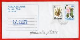 BARBADES AEROGAMME FLEURS 55C DE 1992 POUR BOURDEILLES FRANCE - Barbados (1966-...)