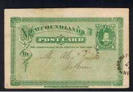 RB 897 - 1916 Newfoundland Canada - 1c Postal Stationery Post Card - Partial Railway Cancel - Newfoundland