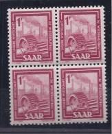 Saar1949-50:Yvert256 Block Of 4mnh** - Saargebiet