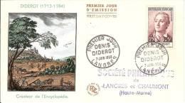 Denis DIDEROT- ENCYCLOPEDIE - PJ LANGRES (49)- 07/06/1958-  Enveloppe Illustrée - Avec Compl. Affr.au Verso - FDC