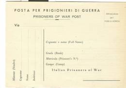 PRIGIONIERI DI GUERRA , CARTOLINA PER LA CORRISPONDENZA DEI PRIGIONIERI,ORDINARIA IN FRANCHIGIA,  NUOVA - Prigione E Prigionieri