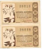 12920. Dos Billetes Loteria Nacional ESPAÑA 1966 - Lottery Tickets