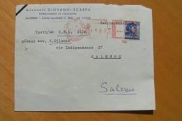 STORIA POSTALE  -  MICHELANGIOLESCA  +  TIMBRO ROSSO   - VIAGGIATA SALERNO (44) - 6. 1946-.. Repubblica