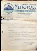 Factuur Brief Grands Magasins Metropole - Felix Capus Luxembourg 1948 - Lussemburgo