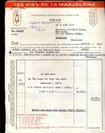 Factuur Brief Les Vins De La Marjolaine - Ets A. Raoux - ORAN Algerie 1957 - Factures & Documents Commerciaux