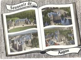 Cp 56 AUGAN Souvenir De , Vue Générale Aérienne  ( Habitations Chateau Lemo De Trecesson Bois église Place Rue  ) - France