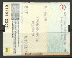 Germany Deutschland Berlin Tageskarte One Day Ticket Unused - Abonnements Hebdomadaires & Mensuels