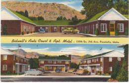 Pocatello ID Idaho, Bidwell's Auto Court & Apartment Motel Lodging, Autos C1940s Vintage Linen Postcard - Pocatello