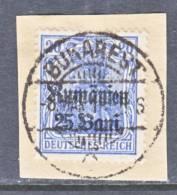 German Occupation Romania  3N 11a  Blue  On Piece  (o) - Occupation 1914-18