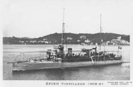 Torpilleur EPIEU (Marine Nationale) - Carte Photo éd. Marius Bar - Ship/bateau/schiff - Guerra