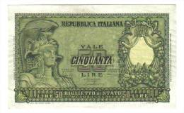 50 LIRE ITALIA ELMATA 31 12 1951  Q.FDS NATURALE LOTTO 1396 - [ 2] 1946-… : Républic