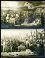 Lot De 2 Cartes/photos. Guerre 1870. Clichés De Tableaux : La Curée Allemande  // La Paix Signée, ... Vengeance! - Patriotiques