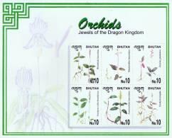 BHUTAN ORCHID SERIES 6 STAMP MINIATURE SHEET BHUTAN 2002 MINT MNH - Orchideeën