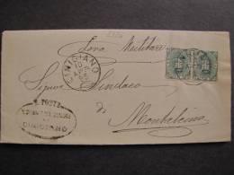 """ITALIA Regno-1891-96- """"Stemma"""" C. 5 Coppia CINIGIANO>MONTALCINO (descrizione) - 1878-00 Umberto I"""
