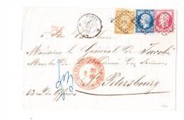 MAGNIFIQUE LSC De Paris D Pour St Petersbourg (rare!!!) 1860, Tricolore 13,14 Et 17. Cachet D'arrivée Avec Date - Marcofilia (sobres)