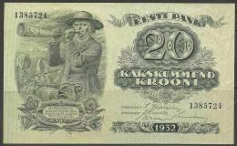 Estland Estonia Estonie 20 Krooni 2 X Bank Note 2 Banknoten 1385724  & 1385725 On The Row 1932 UNC - Estonia