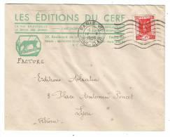 Lettre Illustrée Des EDITIONS Du CERF,obl De Paris Rue Cler, Yvert N° 325, Exposition Internationale 1937 >Lyon, 1938,TB - Weltausstellung