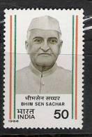 India, 1986, Bhim Sen Sachar,  Freedom Fighter, MNH, (**) - India