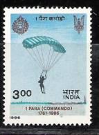 India, 1986, 1st Battalion Of ParachutistsRegiment, 225th Anniversary, MNH, (**) - India