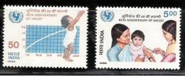 India, 1986, United Nations Emergency Fund, 40th Anniversary, Set 2 V, MNH, (**) - Infancia & Juventud