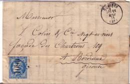 NORD-COMINES T16 DU 11-5-1871 - N°46 CERES DE BORDEAUX OBLITERATION GC1090-LETTRE AVEC TEXTE. - Marcofilia (sobres)