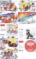 [Y] 9 Télécartes Prépayées Mongolie Mongolia Prepaid Phoncards Tigre Tiger Year Of The Rabbit Année Du Lapin