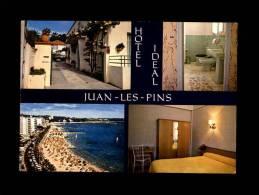 06 - JUAN-LES-PINS - Hôtel IDEAL - Carte Publicitaire - Multi Vues - Salle De Bains - Antibes