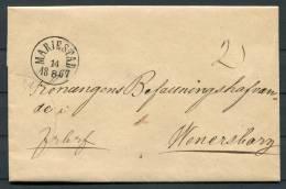 1867 Sweden Entire To Wenersborg - Fine Mariestad Circle Cancel